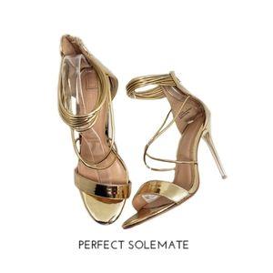 Charlotte Russe Theresa Gold Strap Heels Sz 8
